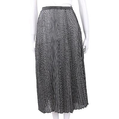 ELISABETTA FRANCHI 黑白格紋細百褶紗質長裙(內附黑色安全褲)