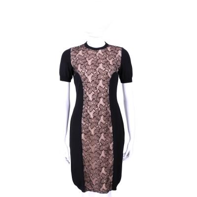 MOSCHINO 黑x粉色拼接蕾絲設計短袖洋裝