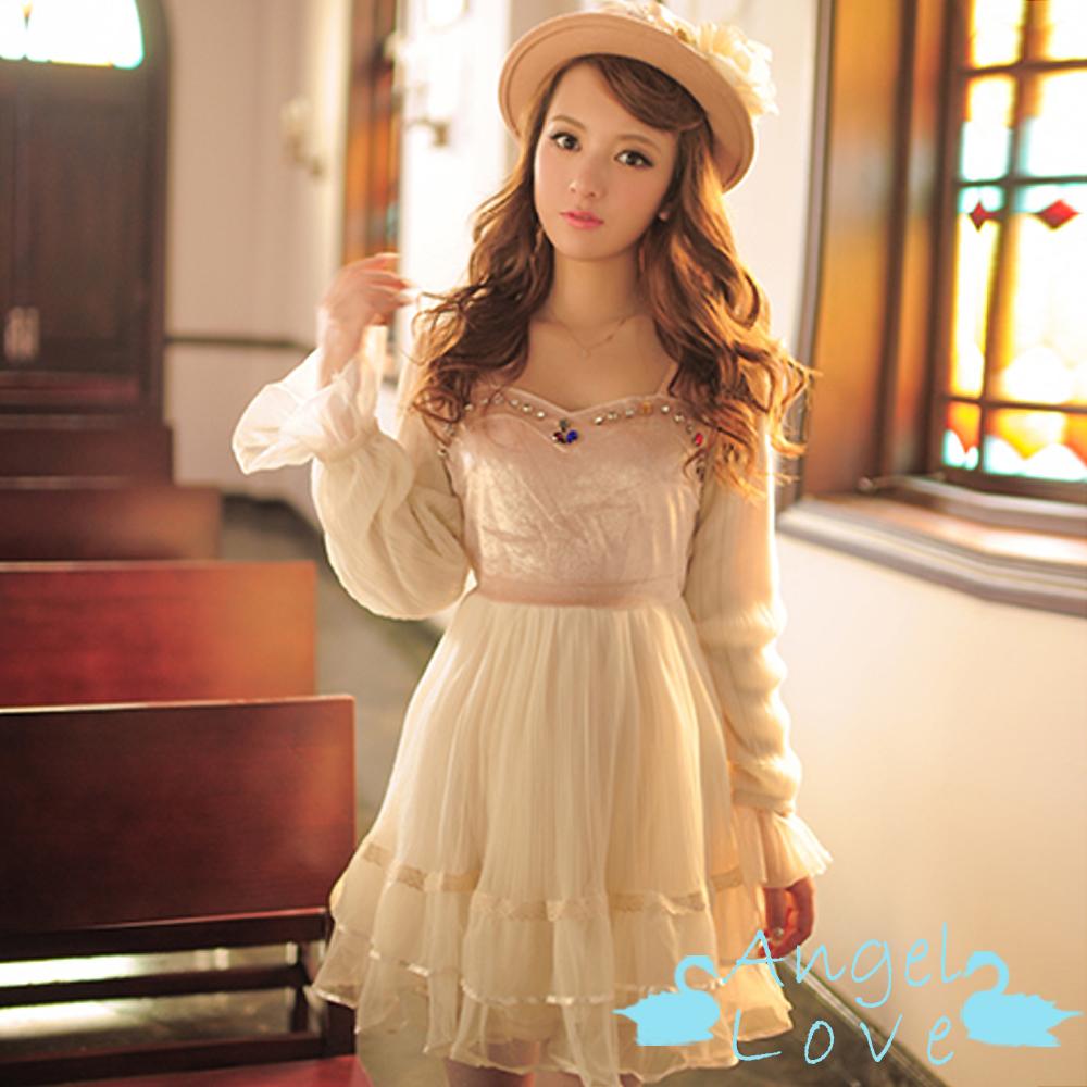 Angel Love-洋裝 童話彩色寶石拼接網紗洋裝 (杏色)
