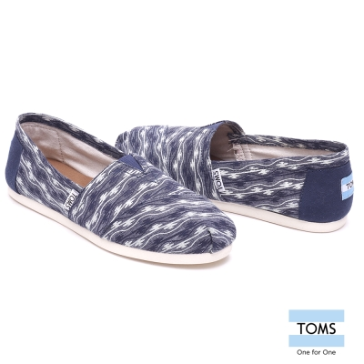 TOMS 波紋帆布懶人鞋-女款(藍)