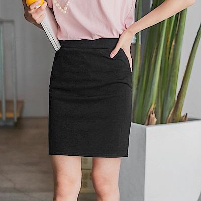 全鬆緊腰頭合身素面短包裙-OB大尺碼