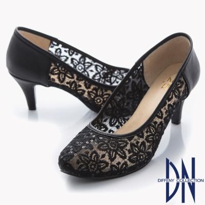 DN-優雅仕女-MIT法式鏤花透膚蕾絲高跟鞋-黑
