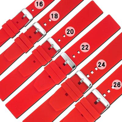 Watchband  舒適耐用輕便 型矽膠錶帶~紅色
