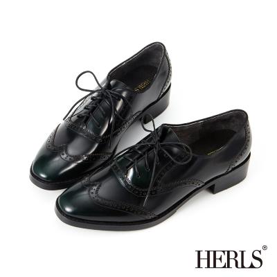 HERLS 全真皮 英倫品味雕花造型綁帶牛津鞋-墨綠