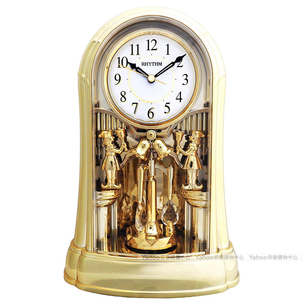 RHYTHM麗聲 典雅宮廷設計水晶鐘擺報時座鐘/31cm