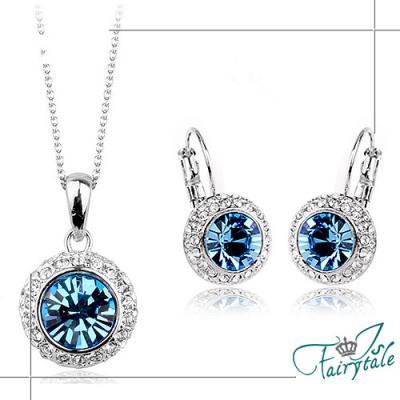 伊飾晶漾iSCrystal 月亮銀河 藍水晶圈式耳環項鍊組