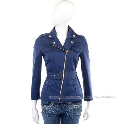 MOSCHINO 深藍色斜拉鍊造型外套(附腰帶)