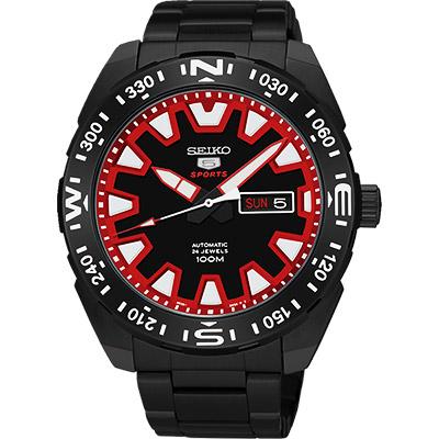 SEIKO 精工5號盾牌賽車機械錶(SRP749J1)-黑x紅/45mm