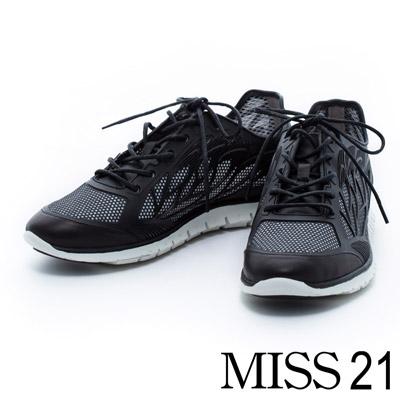 MISS 21 羽翼滴膠造型拼接牛皮超彈力休閒鞋-黑