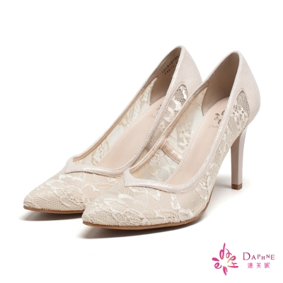 達芙妮DAPHNE-唯美魅惑蕾絲美肌尖頭高跟鞋-細緻裸膚
