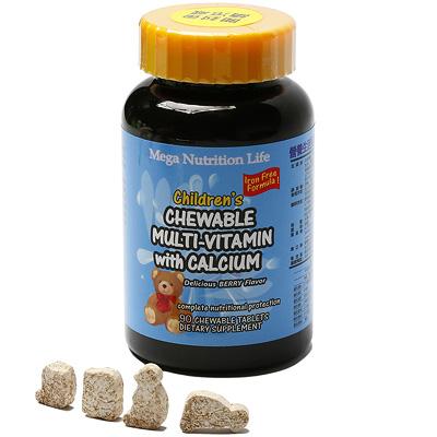 美國Mega 兒童綜合維他命鈣加強口嚼片90顆