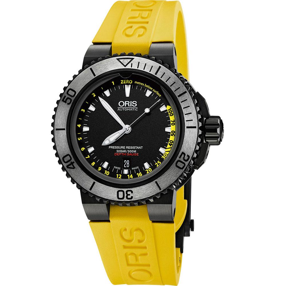 ORIS AQUIS DEPTH GAUGE 500米深度測量潛水錶-黑x黃/46mm