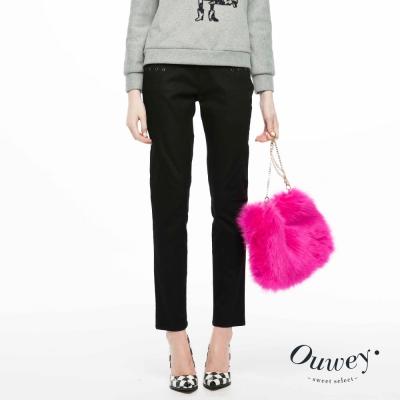 OUWEY歐薇-口袋裝飾彈性小直筒褲