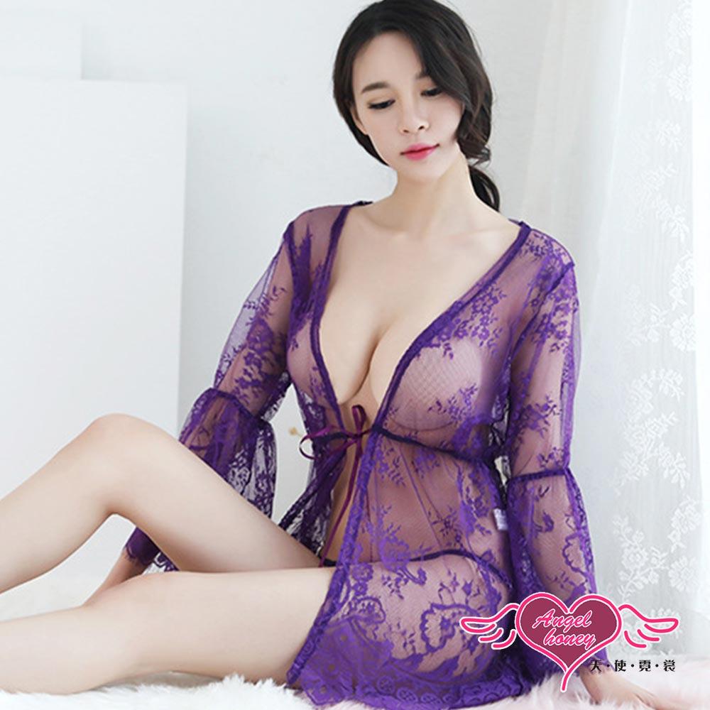 罩衫 波濤花香 情趣半透綁帶外罩睡衣組(深紫F) AngelHoney天使霓裳
