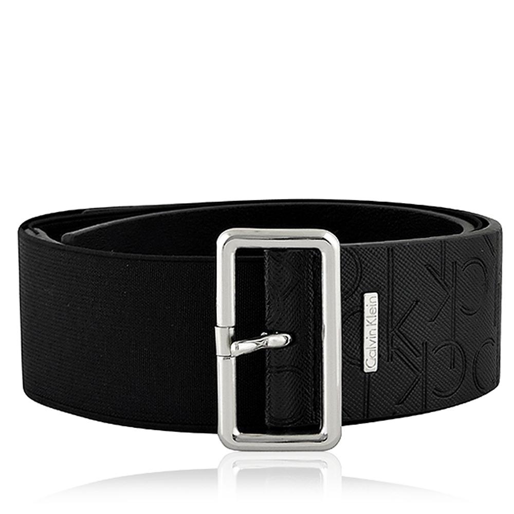Calvin Klein黑色LOGO皮革壓紋皮帶-LXL號