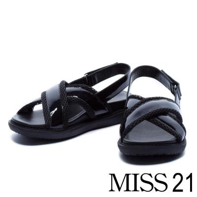涼鞋 MISS 21 異材質拼接交叉帶厚底涼鞋-黑