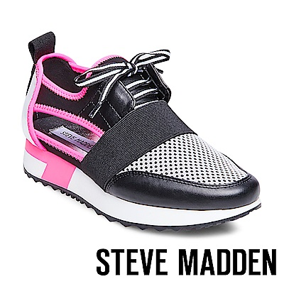 STEVE MADDEN-ARCTIC 拼接綁帶休閒鞋-桃黑