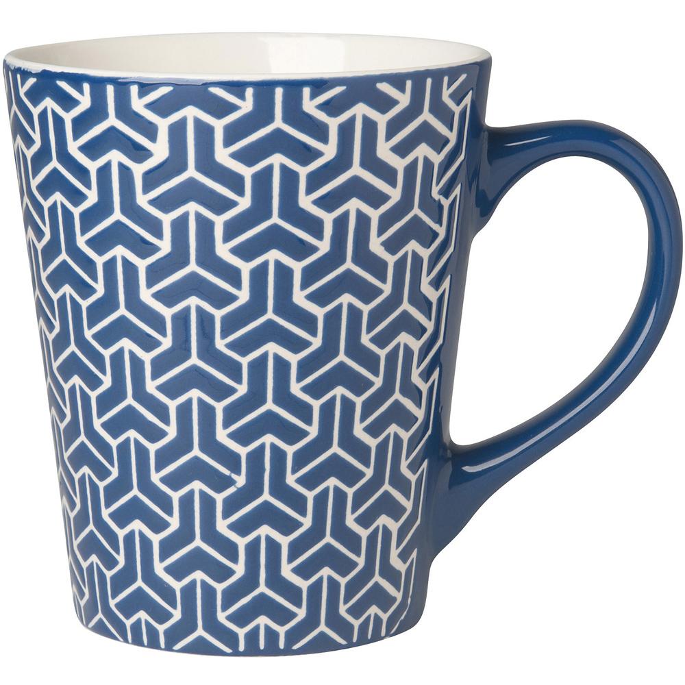 NOW 雕紋馬克杯(深藍375ml)