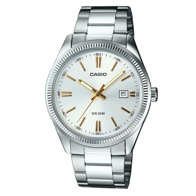 CASIO 經典城市日曆時尚紳士腕錶(MTP-1302D-7A2)-白色X金時刻/38mm
