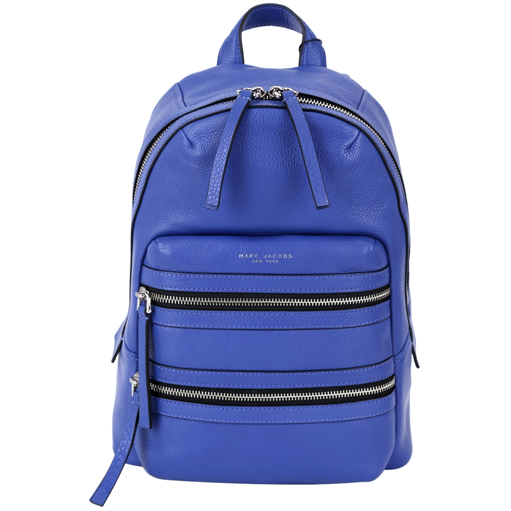 MARC JACOBS Leather Biker 牛皮拉鍊設計後背包(藍色) @ Y!購物