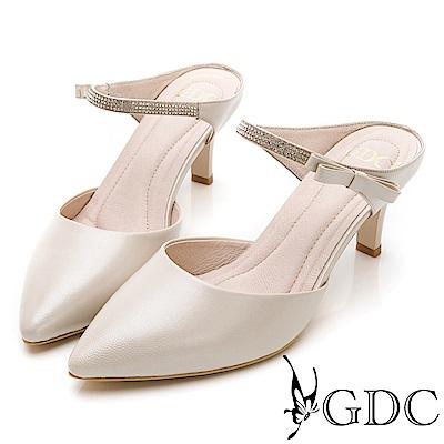 GDC-羊皮優雅水鑽氣質尖頭低跟拖鞋-金色