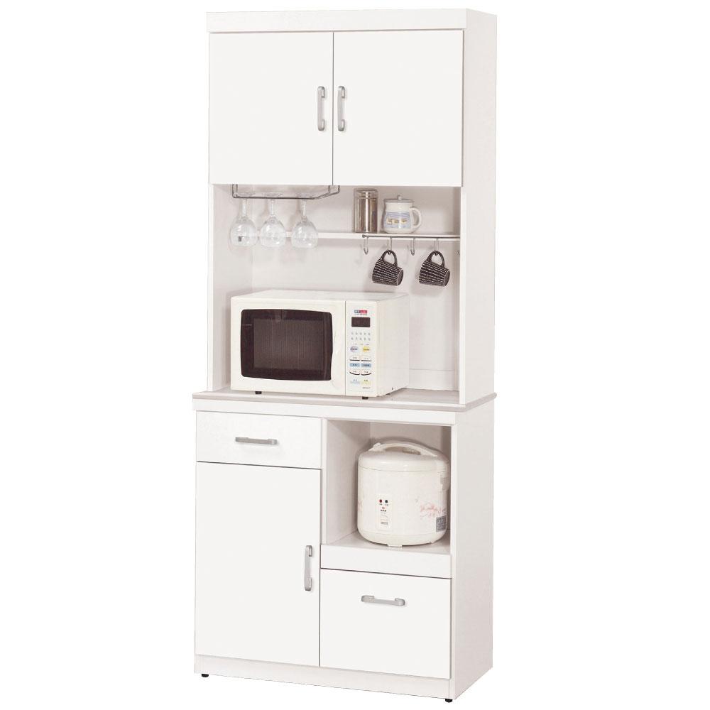 品家居 迪祖2.7尺石面單門碗盤餐櫃(上+下座)