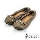 GDC-真皮素面蝴蝶結水鑽平底娃娃鞋-棕色