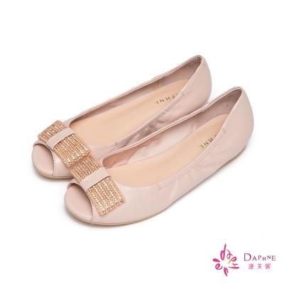 達芙妮DAPHNE-輕舞雲端羊皮鑽飾軟Q魚口娃娃鞋