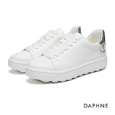 達芙妮DAPHNE 休閒鞋-撞色拼接編織繫帶休閒鞋-銀
