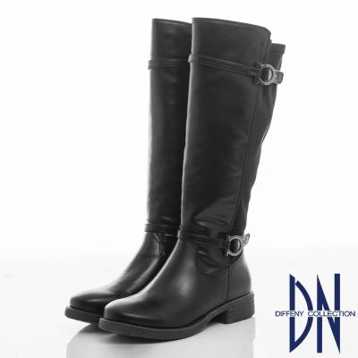 DN 經典百搭 異材質拼接銅環顯瘦長靴-黑