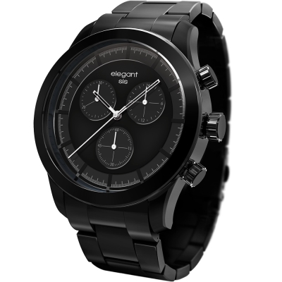 elegantsis Clasic Fashion 城市玩家計時腕錶-黑/44mm