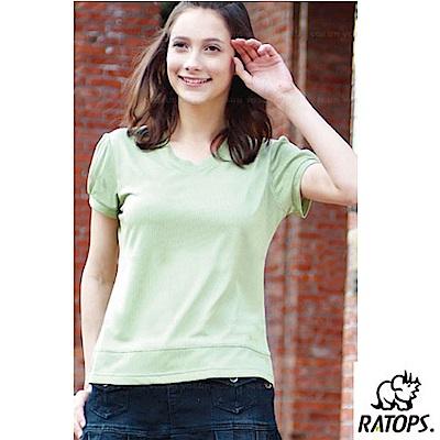 【瑞多仕-RATOPS】女 COOLMAX V領短袖休閒衣_DB7811 淺草綠 V
