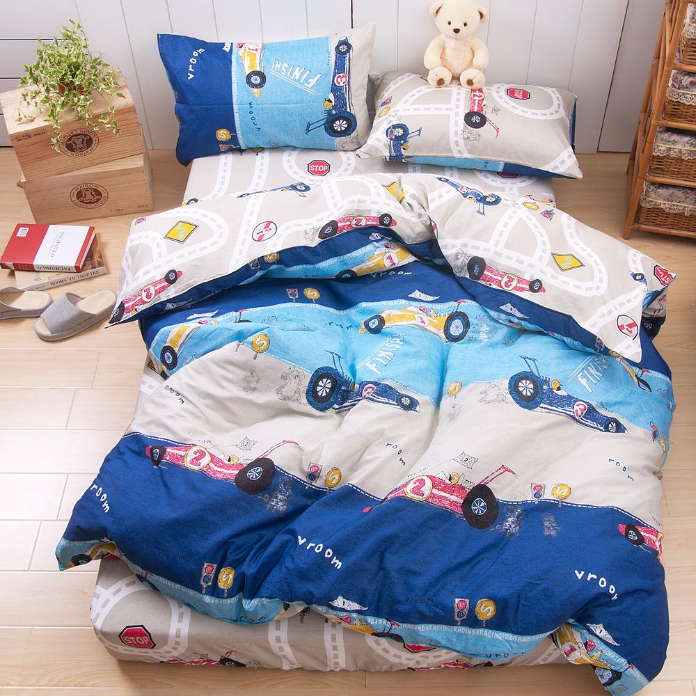 日本濱川佐櫻-越野賽車 台灣製雙人四件式精梳棉兩用被床包組