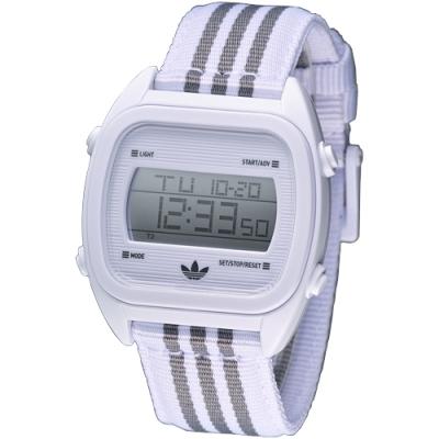 adidas 休閒運動風帆布電子腕錶-白/38mm