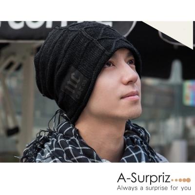 A-Surpriz 時尚NC徽章刷毛針織帽(黑)