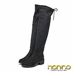nonno後綁帶墜飾 絨布及膝長靴-黑