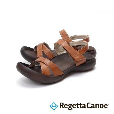 RegettaCanoe-交叉皮革鞋面款樂步鞋-駝色