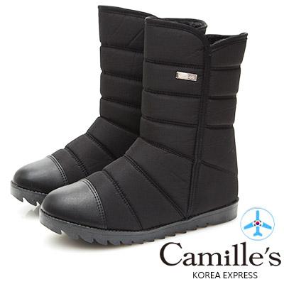 Camille's 韓國空運-正韓製-高低口內增高太空雪靴-黑色