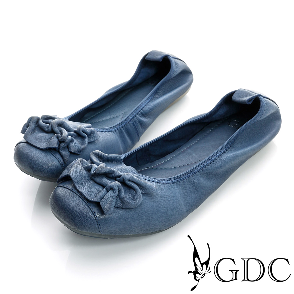 GDC百搭-抓皺造型彈性真皮平底娃娃鞋-藍色