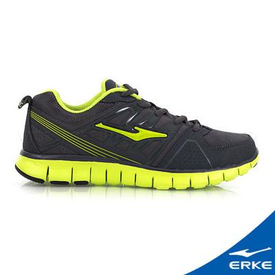 ERKE 鴻星爾克。男運動綜訓慢跑鞋-碳黑/清竹綠