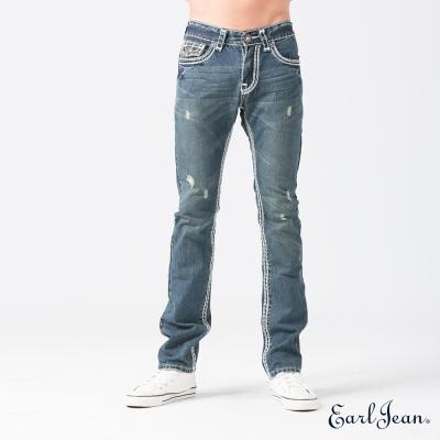 Earl Jean 輕磨破粗車線低腰舒適窄管褲-中藍-男