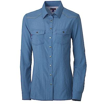 【Wildland 荒野】女RE雙色時尚抗UV長袖襯衫藍