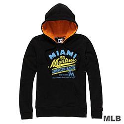MLB-邁阿密馬林魚隊運動風印花連帽長袖厚T恤-黑 (女)