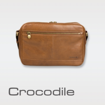 Crocodile Natural Collection橫式斜背包  0104-58152