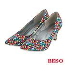 BESO 都會摩登  繽紛幾何炫彩高跟鞋~五彩