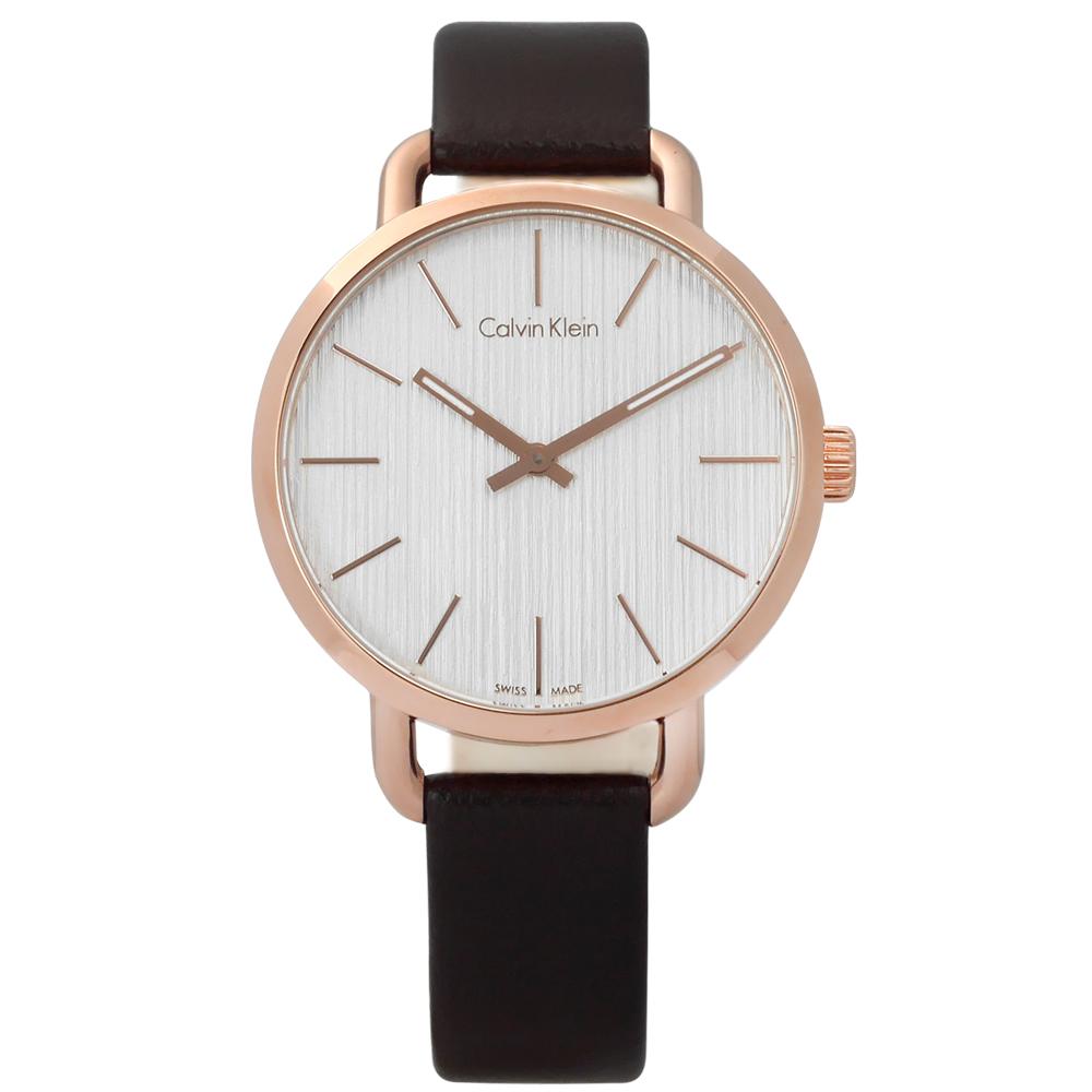 CK 沉靜雅緻岩紋皮革手錶- 銀白x玫瑰金框x深褐/36mm