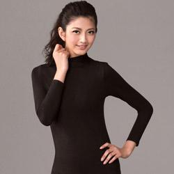 華歌爾-中空纖維M-LL立領長袖款保暖衣(時尚黑)