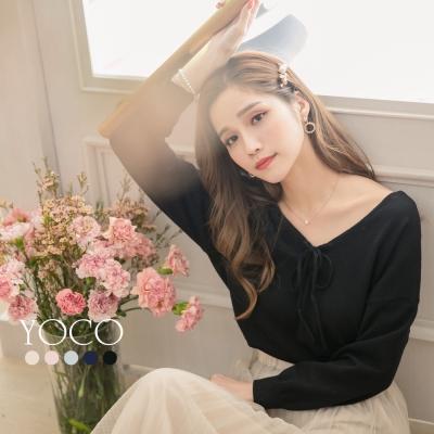 東京著衣-yoco 微性感多色深V綁帶正反兩穿針織上衣-S.M.L(共五色)