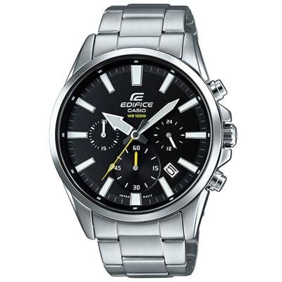 EDIFICE 經典三眼時刻大錶面時尚腕錶(EFV-510D-1A)黑/45mm