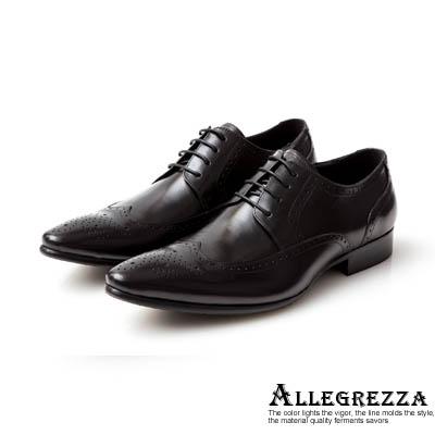 ALLEGREZZA-真皮男鞋-時尚型格-真皮藝紋雕花尖頭綁帶鞋黑色